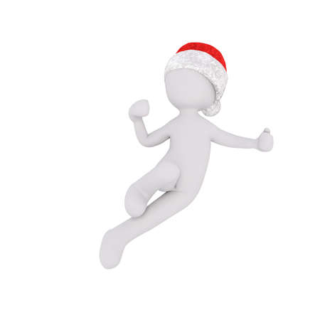 agile: Little 3D character in santa hat Stock Photo
