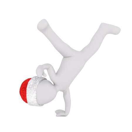 cartwheel: Little 3D character in santa hat Stock Photo