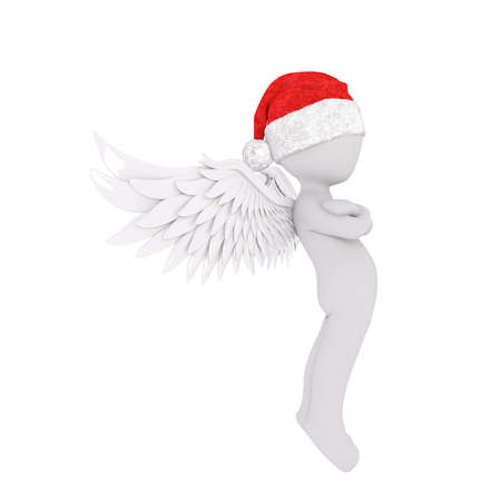 Cute 3D figure in angel wings and red Santa Claus