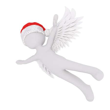 hinge: Little 3D character in santa hat Stock Photo