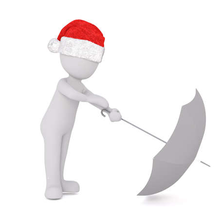 Little 3D character in santa hat Stock Photo