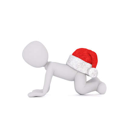 buttocks: Little 3D character in santa hat Stock Photo