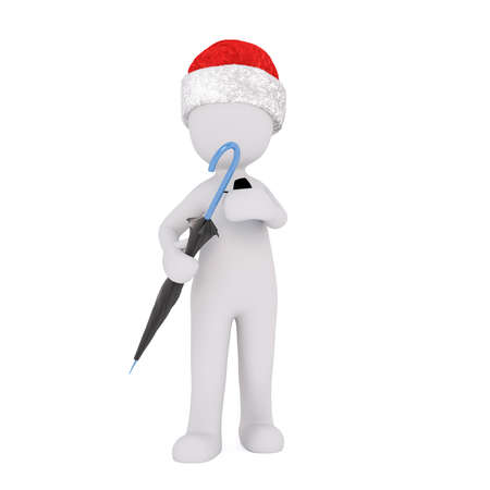 brolly: Front view on standing single 3D figure in Santa hat holding closed umbrella over isolated background Stock Photo