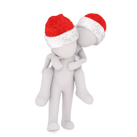 sweethearts: Playful 3D illustrated figures piggy back one on the other while wearing santa hats Stock Photo