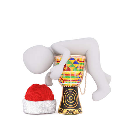 red drum: Single 3D rendered figure in red hat laying on top of colorful djembe drum over isolated background Stock Photo