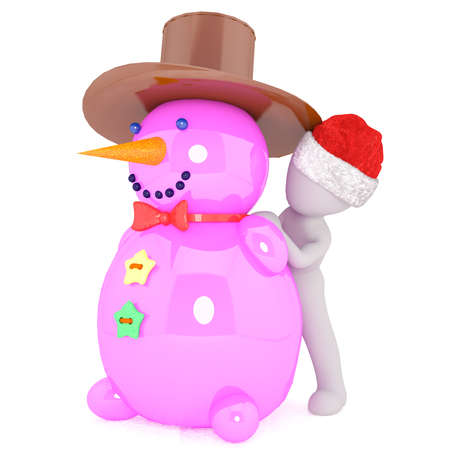 big figure: Single 3D illustrated figure stands by big pink snowman wearing brown hat against a white background Stock Photo