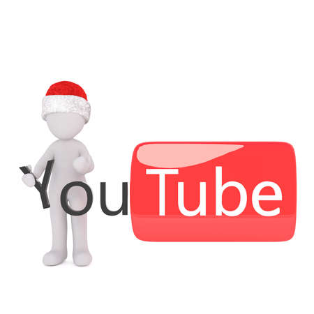 single 3d figure in red and white christmas hat holding letter y while standing beside a - Youtube White Christmas