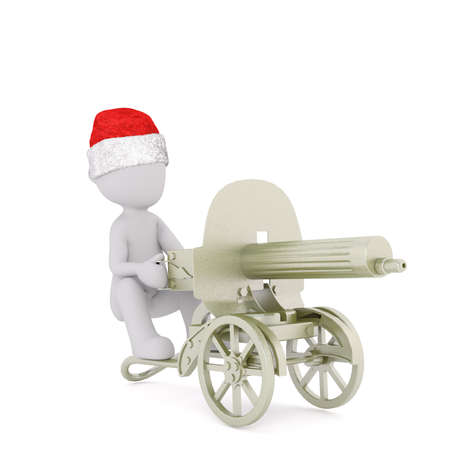 christmas military: 3D figure sitting wearing red and white Christmas hat in old cannon on wheels over isolated background with set down shadow