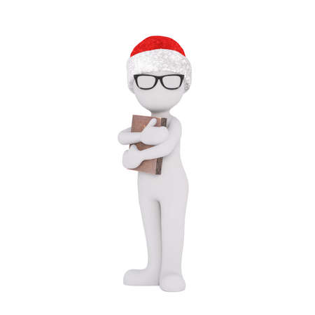 scholarly: 3D human figures in Christmas theme over white Stock Photo