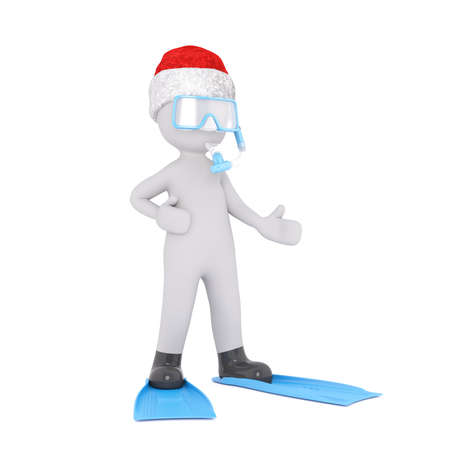 santa clause hat: Single 3D figure dressed in Santa Clause hat while gesturing with hands in diving flippers and face mask over white