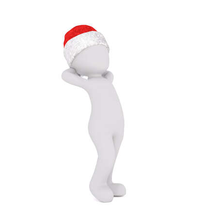 relaxed man: 3D figure in red Santa hat standing over white background with both hands behind head