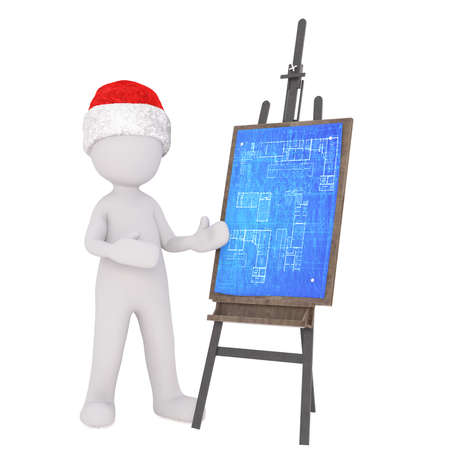 blue prints: 3D illustrated figure wearing santa hat gestures towards blue prints pinned on an easel Stock Photo