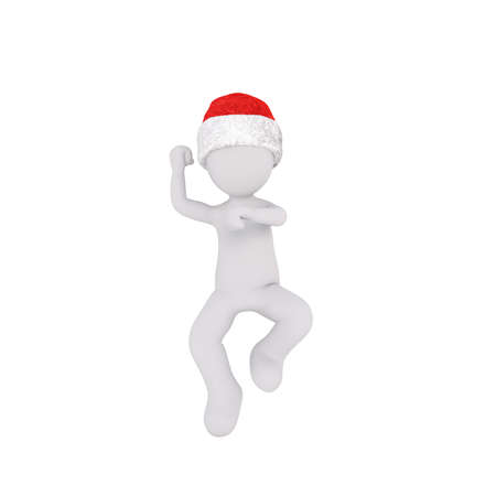jig: Cute dancing 3D figure in Santa Claus Christmas hat over isolated white background