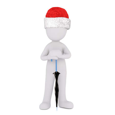 brolly: 3D rendered figure in Christmas hat leaning on closed black and blue umbrella over isolated background Stock Photo