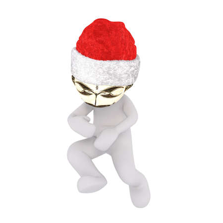 tribal dance: Dancing 3D illustrated man wears shiny gold mask and santa hat against a white background