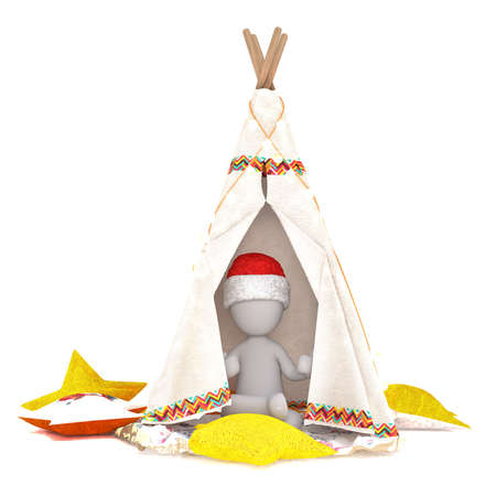 Single 3D figure wearing red and white Santa hat sitting in teepee surrounded by pillows over isolated white background Stock Photo
