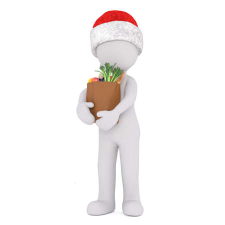 flowerpots: 3D human figure in cute little Christmas Santa standing upright with large grocery bags in both hands over white background
