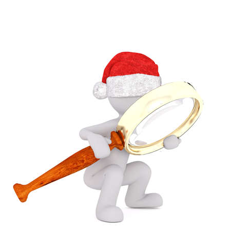 investigating: Single squatting 3D rendered figure in Christmas hat holding and looking through large magnifying glass Stock Photo