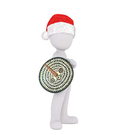 wears: Proud 3D illustrated figure stands with shield and wears santa hat against a white background Stock Photo