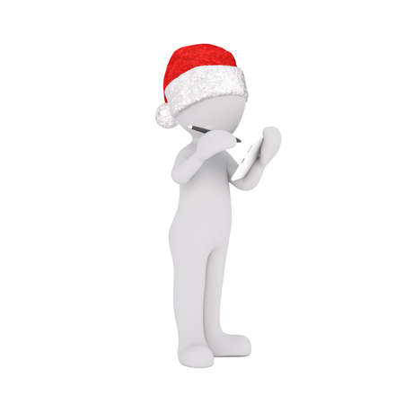 santa clause hat: 3D character dressed in holiday Santa Clause hat standing while writing with stylus on tablet over isolated background
