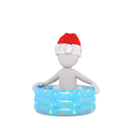 Single 3D rendered figure in red hat over isolated background