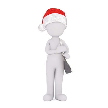 Single 3D figure with Santa hat and stylish purse standing alone over white background