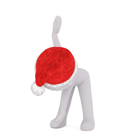 3d man in a festive red Christmas Santa hat taking a bow after a performance isolated on white, illustration render Stock Photo