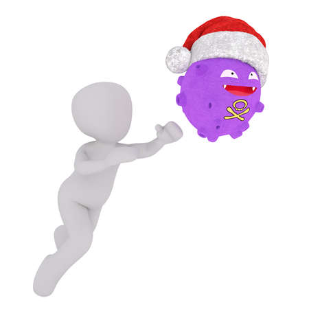 stole: Anxious 3D human figure running after purple giggling influenza creature that stole his hat