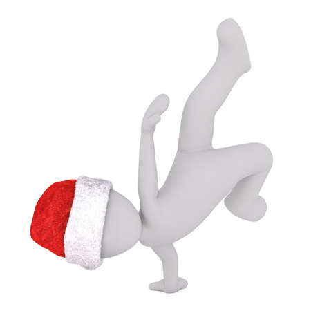Athletic figure in Santa hat doing handstand over white