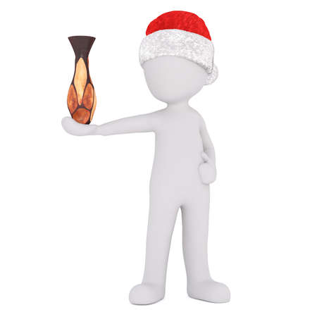 exhibiting: Full body 3d toon figure in Santa hat balancing vase on hand, white background