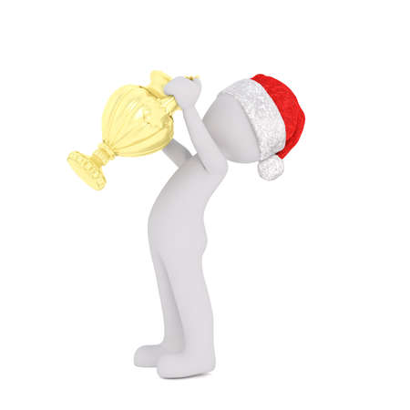 triumphant: Triumphant 3d man holding up a gold winners trophy after winning a race, championship or competition while wearing a Christmas Santa hat, isolated rendered illustration on white