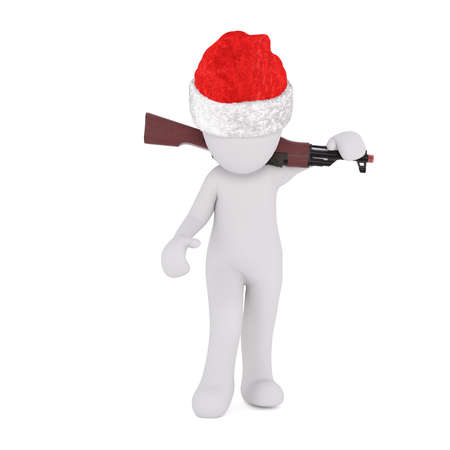 christmas military: 3d soldier or hunter in a red Christmas hat carrying a rifle slung over his shoulders, isolated 3d rendered cartoon illustration on white