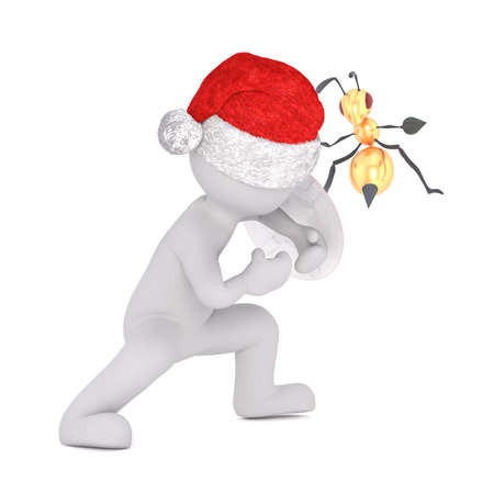 sting: festive 3d man in a Santa hat swatting at a hornet or bee with his hand that is trying to sting him on the arm, isolated rendered illustration on white