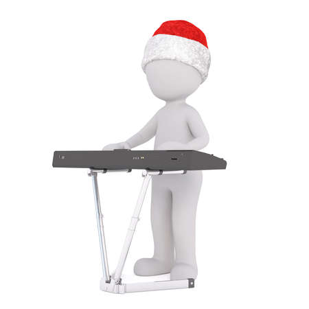 3d toon figure in Santa hat playing music on electronic keyboard on white Stock Photo