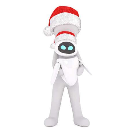 Full body 3d toon character holding alien toy in Santa hat on white