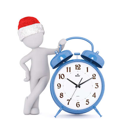 Festive 3d man in a Santa hat leaning on a blue alarm clock with bells showing the time, rendered illustration on white Stock Photo