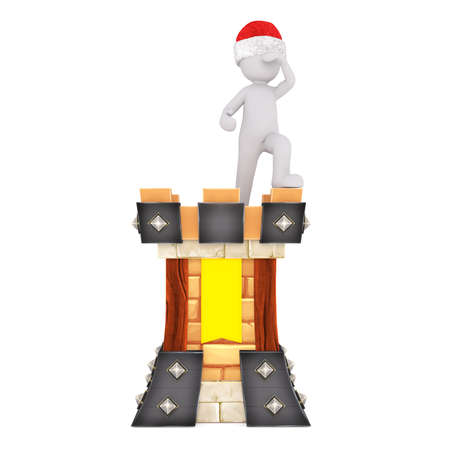 Medieval 3d guard standing lookout on the ramparts of an ancient colorful fortress in a red Santa hat for Christmas, isolated rendered illustration on white