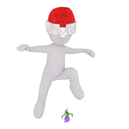 Full body 3d toon figure in Santa hat avoiding small virus character jumping over, white background