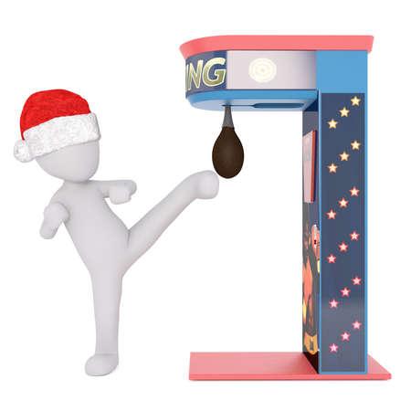 kicks: Santa hat wearing 3D figure kicks punching bag attached to star studded machine