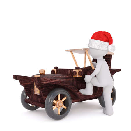 collectibles: 3d man climbing into a cute wooden model toy vintage car wearing a festive red hat for Christmas, rendered illustration on white Stock Photo