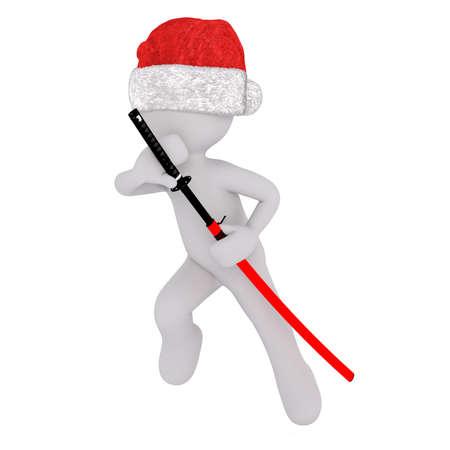 3D Toon in Santa Hut Zeichnung der japanischen Samurai-Schwert von Scheide auf weißem