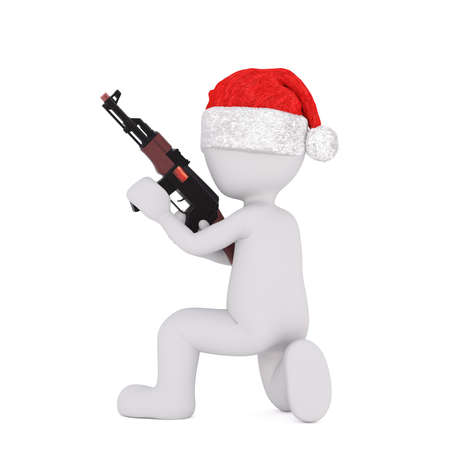 christmas military: Crouching 3d toon in Santa hat holding automatic weapon on white