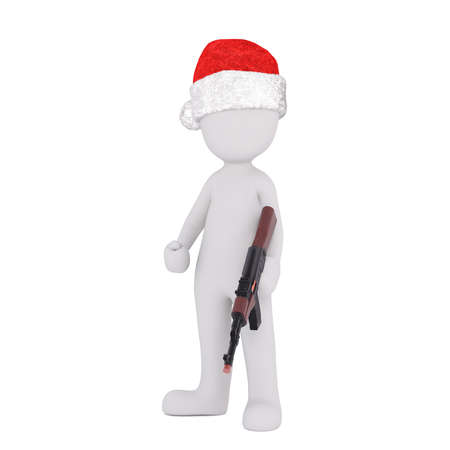marksman: 3d sportsman , hunter or soldier with a rifle in his hand wearing a red Christmas hat, rendered illustration on white