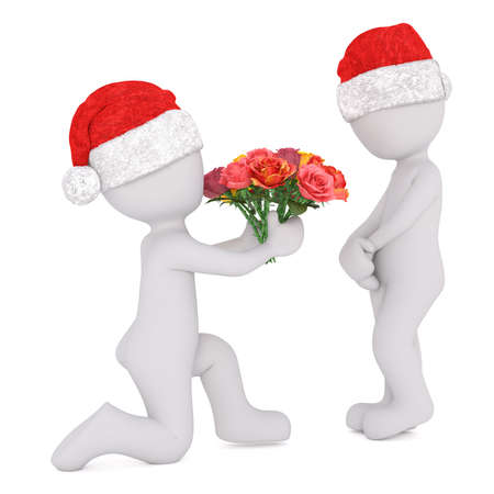 Romantic 3d man in a Christmas hat proposing to his sweetheart offering her a bunch of red roses on bent knees, rendered illustration on white Stock Photo