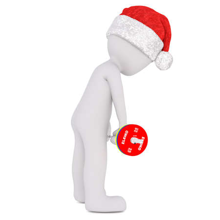 3d man wearing a Christmas Santa hat standing in a gym working out with weights doing bodybuilding exercises in a health and fitness concept, rendered illustration on white
