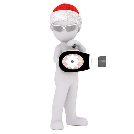 3d toon in Santa hat playing with ray gun pointing to side on white Stock Photo