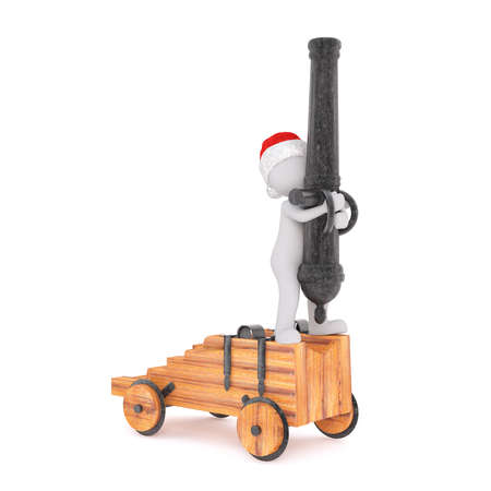 christmas military: 3d man standing on the wooden base of an artillery cannon pointing straight up into the sky, isolated 3d rendered cartoon illustration on white