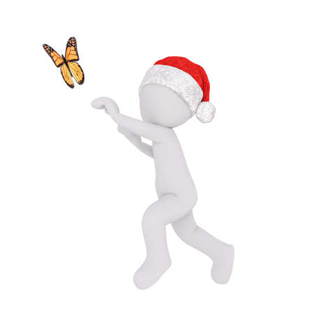 3d man in a red Christmas Santa hat running after a butterfly trying to catch it with his hands, rendered illustration on white