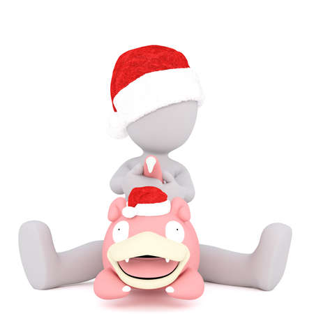 Full body 3d toon in Santa hat sat on large pink pig, white background Stock Photo
