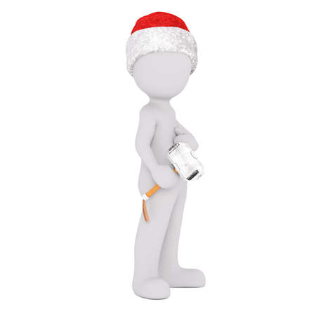 craftsperson: 3d man, carpenter or builder in a Christmas hat standing holding a small mallet in his hand, rendered illustration on white